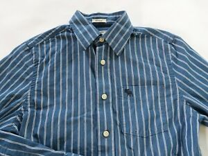 Abercrombie Boys Cotton Muscle LS Button Up Navy White Striped Shirt Youth XL