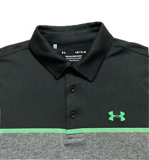 Under Armour Golf The Play Off Polo Shirt Short Sleeve Black Gray Green Size L