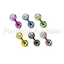 16G Titanium Ion Plated Clear CZ Cartilage Tragus Barbell Ear Ring Piercing Stud