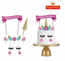 11pcs Unicorn Pink Cake Topper Banner Candle Happy Birthday Party Decorating