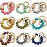 Silicone Geometric Natural Wood Beads Ring Teether Bracelet Baby Teething Rattle