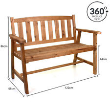 WOODEN BENCH OUTDOOR GARDEN PATIO FURNITURE SEATING TIMBER BACKREST COMFORTABLE