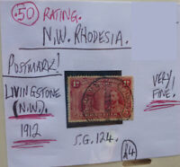 RARE RHODESIA POSTMARK ON STAMP LIVINGSTONE 1912