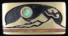Vtg Kenneth Reid Inlaid Wood Turquoise Moon Sandias Geometric Hippie Belt Buckle