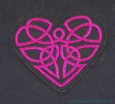 Embroidered Magenta Pink Celtic Swirls Heart Love Black Patch Iron On Sew On USA