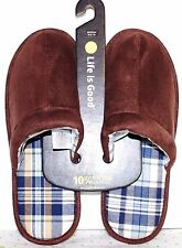 LIFE IS GOOD Chestnut Brown Men's Scuff Slide Comfort Slippers Medium 9-10 NEW!