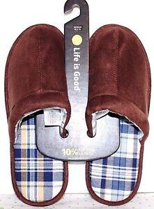 ❤️LIFE IS GOOD Chestnut Brown Men's Slide Comfort Slipper Medium 9.5 NEW! L@@K!