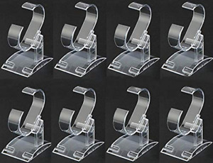 8 Pack Clear Plastic Watch Display Stand
