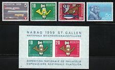Switzerland 1959 MNH Mi 668-671+Block 16 Sc 370-373 & 371a Transport,Exhibition