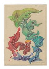 50er Jahre Zeichnung Fritz Klee original Pastell 1954 /25,5cm 17,5cm Mid Century