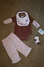 NWT Vitamins Baby Girl Brown Embroidered Flowers 4 piece Set Sz 6M Nice LQQK!