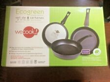 Ecogreen Non Stick Professional Set of 3 Large Non Stick Frying Pans. Induction