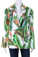 FARM Rio Womens Linen Long Sleeve Shawl Collar Forest Palm Blazer Green Size S