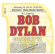 BOB DYLAN EN CONCERT 1981 billet/Concert carte/billet d'entrée