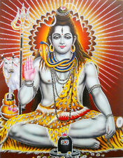 "Blessing Lord Shiva/Shivji HINDU GOD POSTER with glitter picture 9"" X 11"" (9810)"