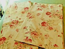 Country Curtains 2 Window Panels Taupe/Khaki Red Green Floral Euc dry cleaned