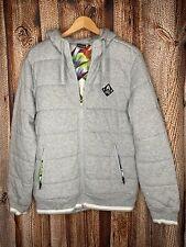 Nixon Gray Floral Lined Puff Full Zip Hoodie Hooded Jacket Men's Medium