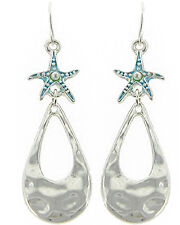 Sea Life Starfish Pearl Enamel Hammered Metal Drop Earrings  Silvertone/Aqua