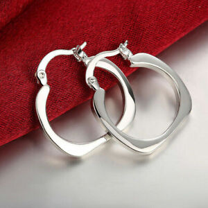 Genuine 925 Sterling Silver Square Creole Hoop Earrings Unusual Fashion Style