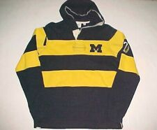 Michigan Wolverines Football NCAA Big Ten Blue Yellow Rugby Pullover Hoodie S