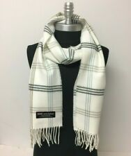 NEW Men Cozy CASHMERE SCARF Check Plaid Off White / gray Scotland Soft Warm Wrap