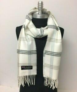 NEW Men 100% CASHMERE SCARF Check Plaid Off White / gray Scotland Soft Warm Wrap