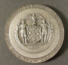 1964 New York World's Fair 300th Anniversary of New .999 Fine Silver Medal #5011