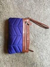 Handbag Butler Mighty Purse Quilted Nylon Blue Charging Wristlet/Crossbody