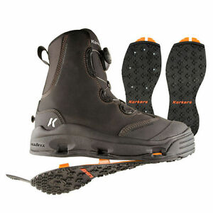 SIZE 12 KORKERS DEVILS CANYON WADING FISHING BOOT STUDDED+ KLING-ON RUBBER SOLES