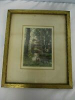 VINTAGE SIGNED HENDRICKSON HAND TINTED PHOTOGRAPH STREAM IN FOREST