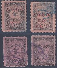 LEBANON 1920's ADPO ON 20 PARA OTTOMAN REVENUE IN RED WITH PS1 & ZO PIASTER SYRI