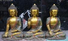 "20"" Fine Cloisonne Enamel Gold Shakyamuni Sakyamuni Tathagata Buddha Statue Set"