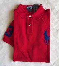 $98 NWT Mens Polo Ralph Lauren Custom Fit Mesh Big Pony 3 Rugby Shirt Red L