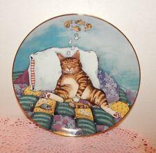 """Danbury Mint-Limit.Ed.D1454-Gary Patterson Comical Cats 1992-""""Cat Nap""""-8"""" Plate"""