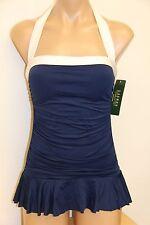 New Ralph Lauren Swimsuit Bikini 1 piece attached Dress Size 10 IND White