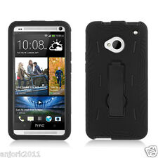 HTC One (M7) Hybrid S Armor Hard Case Skin Cover w/Stand Black A1