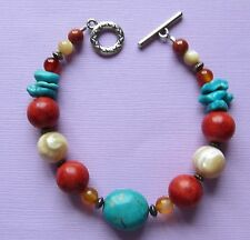 Turquoise Coral Bracelet 7.5 Inches Native American Silvertone Fashion Hand Made