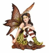 "5.25"" Fairyland Autumn Fairy Elf Sitting on Oak Leaf"