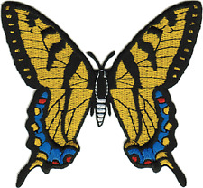 16131 Yellow & Blue Butterfly Swallowtail Wings Embroidered Sew Iron On Patch