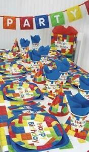 BUILDING BLOCKS Birthday Party Range Tableware,Balloons,Decorations (UNIQUE)