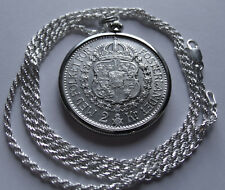 """1939 SWEDEN SILVER 2 KRONA SILVER Coin Pendant, 26"""" Silver Italy Rope chain 31mm"""