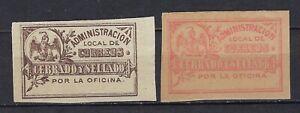 """MEXICO 1889-90 """"CERRADO Y SELLADO"""" 2 DIFFERENT  CV$$+(A2677)"""