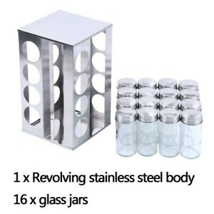 GLASS SPICE HERB JAR JARS REVOLVING STAND RACK HOLDER STAINLESS STEEL AU STOCK