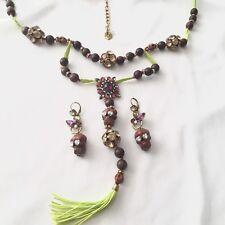 Betsey Johnson 'St Bart's' Skulls Long Tassel Necklace/Earring Set  Rare/HTF!