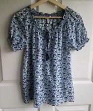 Joie Womens Silk Blend Blue Elephant Printed Masha Blouse Top Shirt Size XS