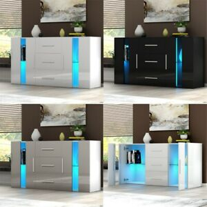 Modern TV Cabinet Sideboard Storage Cupboards 3 Drawers 2 Doors RGB LED Lights