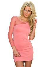 Damen One Shoulder Kleid Minikleid Netz Ärmel S 34 36 Party Club Abiball neu