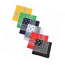 Unisex 6 Pack Double-Side Cowboy Bandanas Paisley Print Hair Wrap 100% Cotton US