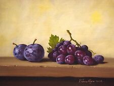 Still Life, Plums and grapes, Original oil Painting, Handmade art, One of a Kind
