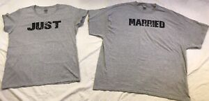 Just Married Couples T-shirts Women's XL and Men's 3XL Newlyweds Honeymoon